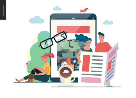 Business series - news or articles- modern flat vector illustration concept of people reading news on various medium and tablet screen, glasses, coffee. Creative landing page design template. Color 1 Illustration