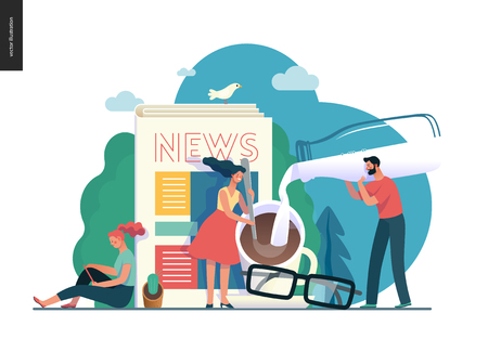 Business series -news or articles -modern flat vector illustration concept of people preparing coffee with milk and woman reading news on phone, glasses. Creative landing page design template.