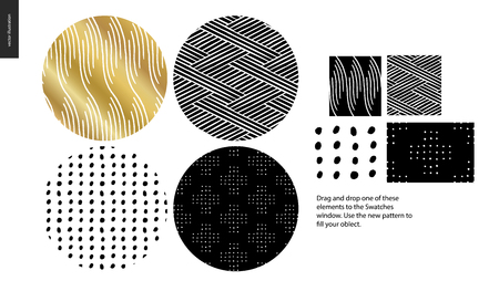 Hand drawn Patterns - a group set of four abstract seamless patterns - black, gold and white. Circle rounded pieces with geometrical lines, dots and shapes - pieces