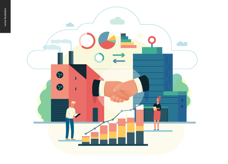 Business series - b2b. business to business - modern flat vector illustration concept of b2b - a factory and a corporate buildings shaking their hands. Creative landing page design template.
