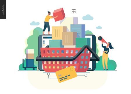 Série d'affaires, couleur 1-chariot - concept d'illustration vectorielle plane moderne de boutique en ligne - personnes plaçant des boîtes dans le panier. Panier d'achat et processus d'achat. Modèle de conception de page de destination créative Vecteurs