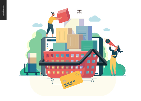 Business series, color 1- cart - modern flat vector illustration concept of online shop - people placing boxes into the cart. Purchase cart and shopping process. Creative landing page design template