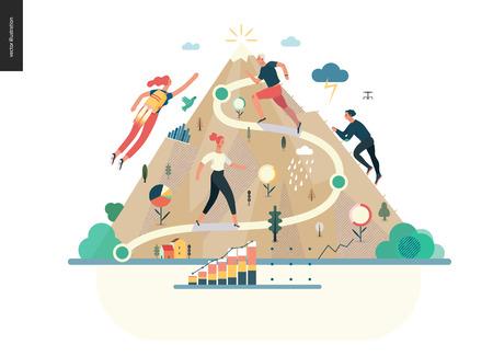 Zakelijke serie, kleur 1 - carrière - moderne platte vector illustratie concept van carrière - mensen die de berg beklimmen. De metafoor van het carrièreladderproces beklimmen Creatieve bestemmingspagina-ontwerpsjabloon Vector Illustratie