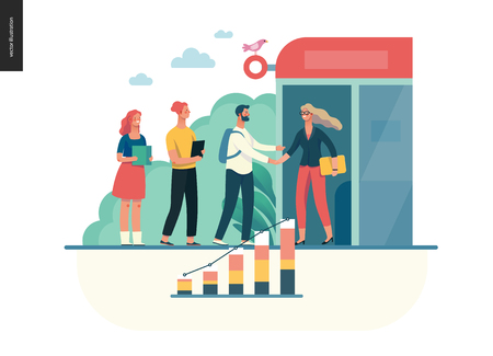 Business series, color 1 - partners -modern flat vector illustration concept of people shaking their hands in the office entrance. Business workflow management. Creative landing page design template Stock Photo