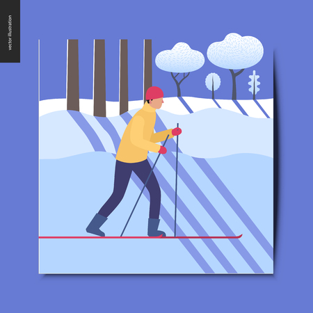 Simple things - a skier in the sunny snow-covered winter forest with diagonal shades, postcard, vector illustration