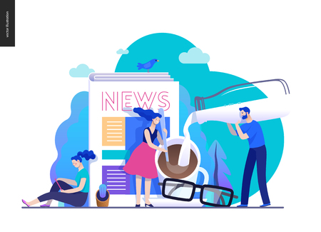 Business series, color 2 -news or articles -modern flat vector illustration concept of people preparing coffee with milk and woman reading news on phone, glasses. Creative landing page design template Иллюстрация