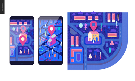 Business series, color 2 - map - modern flat vector illustration, creative concept of location. Isometric and flat maps with a marked building, streets and trees on the smartphone screens Illustration