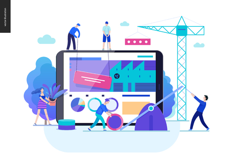 Business series, color 2-company, teamwork, collaboration -modern flat vector illustration concept of people making web page design Business workflow management. Creative landing page design template Illustration