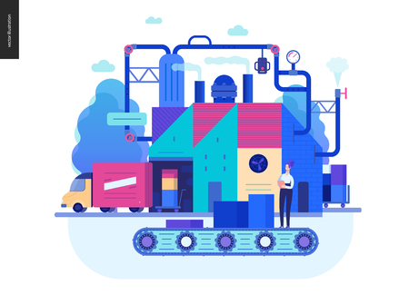 Business series, color 2 - factory production -modern flat vector illustration concept of industrial enterprise. Manufacturing and production interaction process. Creative landing page design template Иллюстрация