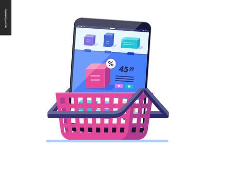 Serie de negocios, color 2- carro - concepto de ilustración de vector plano moderno de tienda online - tableta móvil con página de tienda en carro. Carrito de compra y proceso de compra Plantilla de diseño de página de destino creativa