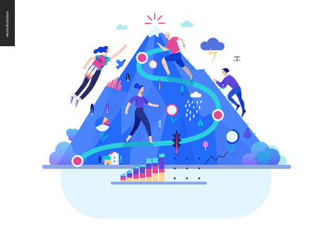 Business series, color 1- career -modern flat vector illustration concept of career - people climbing the mountain. Climbing up the career ladder process metaphor Creative landing page design template Vector Illustratie