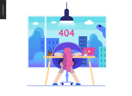 Business series, color 2- error 404 -modern flat vector concept illustration of page Error 404. Exhausted woman laying on the office table Page not found metaphor Creative landing page design template