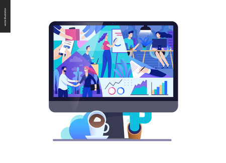 Business series, color 2- about company, office life -modern flat vector concept illustration of a company employees in workspace. Business workflow management. Creative landing page design template Stock Photo