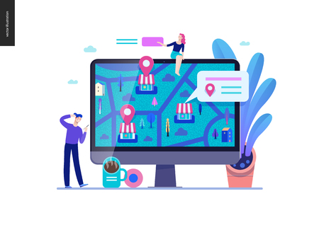 Business series, color 2 - where to buy - modern flat vector concept illustration of map, marked shops, computer screen Selling interaction and purchasing process Creative landing page design template Stock Photo