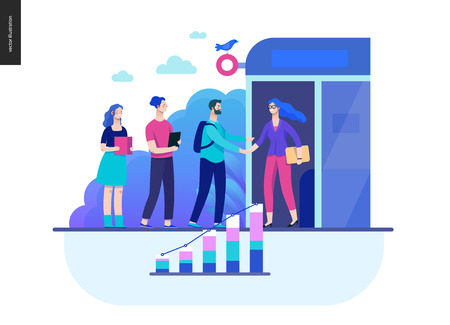 Business series, color 2 - partners -modern flat vector illustration concept of people shaking their hands in the office entrance. Business workflow management. Creative landing page design template Stock Photo