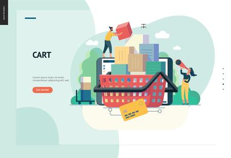 Serie de negocios, color 1- carro - concepto de ilustración de vector plano moderno de tienda online - personas colocando cajas en el carro. Carrito de compra y proceso de compra. Plantilla de diseño de página de destino creativa