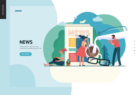 Business series, color 1 -news or articles -modern flat vector illustration concept of people preparing coffee with milk and woman reading news on phone, glasses. Creative landing page design template