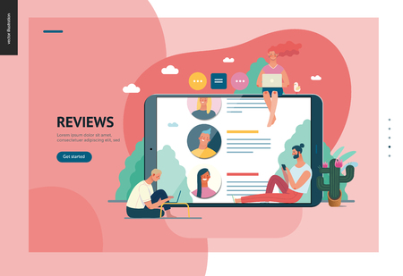 Business series, color 1 - reviews -modern flat vector illustration concept of people writing reviews and the review page on the tablet screen. Creative landing page or company product design template Illustration