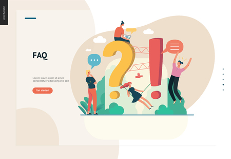 Business, color 1- FAQ -modern flat vector concept illustration of Frequently asked questions People around exclamation and question marks Question answer metaphor Creative web page design template Illustration