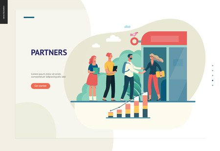 Business series, color 1 - partners -modern flat vector illustration concept of people shaking their hands in the office entrance. Business workflow management. Creative landing page design template Illustration