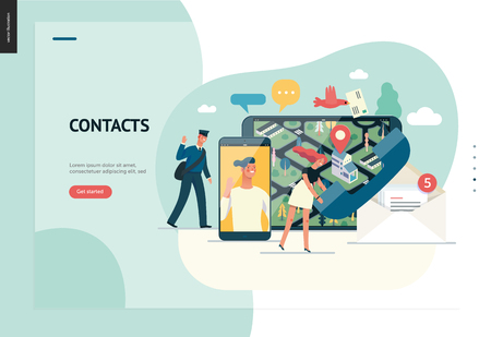 Business series, color 1 - contacts - modern flat vector illustration concept of intercommunicators. Connection ways and tools -web, phone, chat, messenger, post. Creative landing page design template