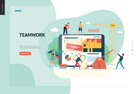 Business series, color 1 -company, teamwork, collaboration -modern flat vector illustration concept of people making web page design Business workflow management. Creative landing page design template Illustration