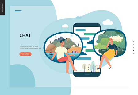 Business series, color 1 - chat - modern flat vector illustration concept of people chating in messenger and the chat app on the phone screen. Creative landing page or company support design template