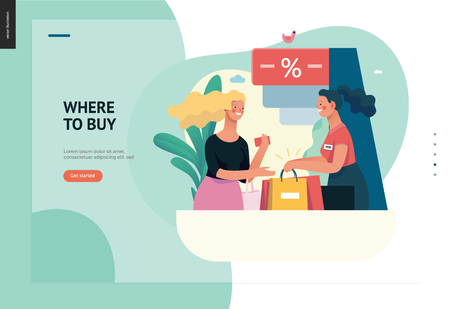 Business series, color 1 - where to buy - modern flat vector illustration concept of a customer and a shop assistant. Selling interaction and purchasing process. Creative landing page design template