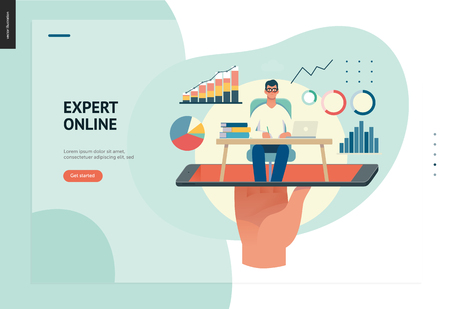 Business series, color 1 - expert online consulting -modern flat vector illustration concept of consultant online from smartphone. Consulting interaction process. Creative landing page design template