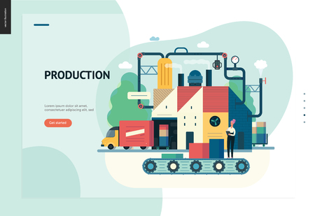 Business series, color 1 - factory production -modern flat vector illustration concept of industrial enterprise. Manufacturing and production interaction process. Creative landing page design template Иллюстрация