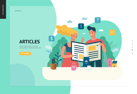 Business series, color 1 - articles - modern flat vector illustration concept of man and woman reading article on the folded computer screen like a magazine. Creative landing page design template Illustration