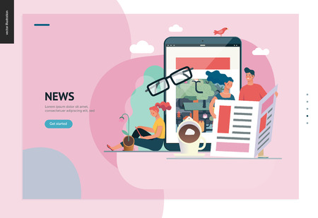 Business series, color 1 - news or articles- modern flat vector illustration concept of people reading news on various medium and tablet screen, glasses, coffee. Creative landing page design template Illustration