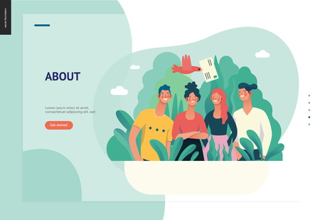 Business series, color 1 - about company, contact -modern flat vector concept illustration of a company employees posing together. Business workflow management. Creative landing page design template