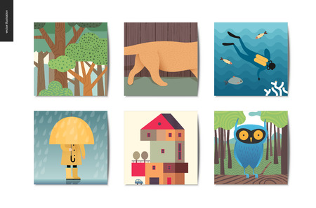 Simple things - cards - flat cartoon vector illustration of forest, kitten tail, scuba diver, sea, ocean, kid in rain, raincoat umbrella, countryside house, owl in woods - summer postcards composition