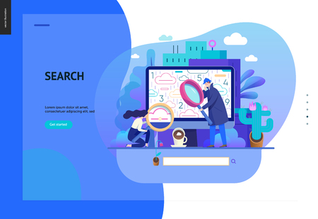 Business series, color 2 - search page - modern flat vector illustration concept of digital data research on computer. Information researching interaction process Creative landing page design template