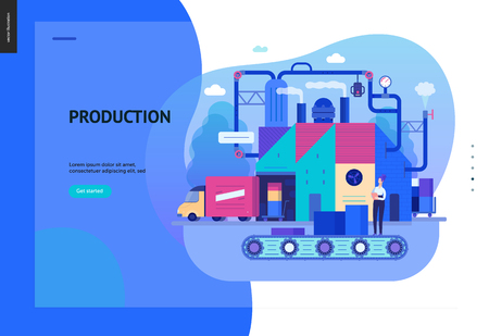 Business series, color 2 - factory production -modern flat vector illustration concept of industrial enterprise. Manufacturing and production interaction process. Creative landing page design template Фото со стока