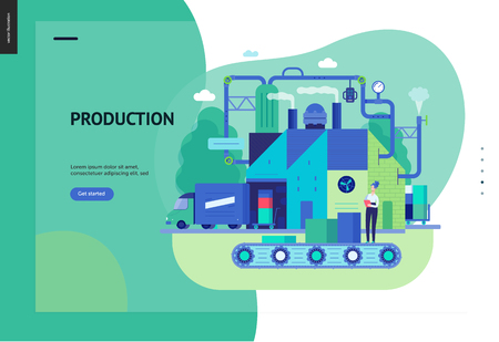 Business series, color 3 - factory production -modern flat vector illustration concept of industrial enterprise. Manufacturing and production interaction process. Creative landing page design template Фото со стока - 120136502