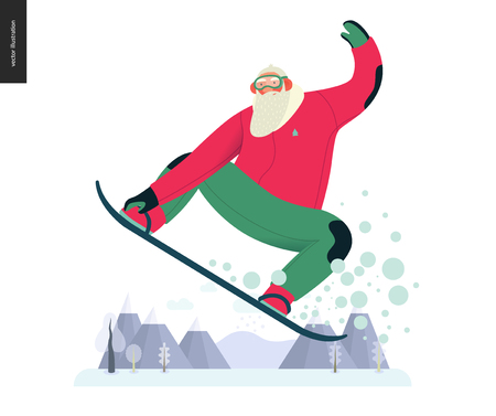 Sporting Santa - snowboarding -modern flat vector concept illustration of cheerful Santa Claus flying on snowboard, wearing winter equipment, snowflakes, winter landscape, xmas outdoor activity