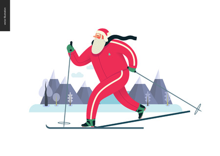Sporting Santa - winter ski running - modern flat vector concept illustration of cheerful Santa Claus been skiing outside, wearing red tracksuit, winter landscape, xmas outdoor activity Reklamní fotografie