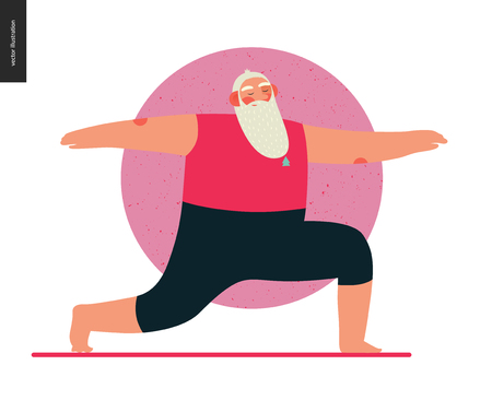 Sporting Santa - yoga - modern flat vector concept illustration of cheerful Santa Claus standing in warrior yoga pose in the gym, wearing red yoga suit, xmas fitness activity Ilustração Vetorial