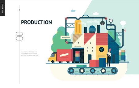 Business series, color 1 - factory production -modern flat vector illustration concept of industrial enterprise. Manufacturing and production interaction process. Creative landing page design template Фото со стока