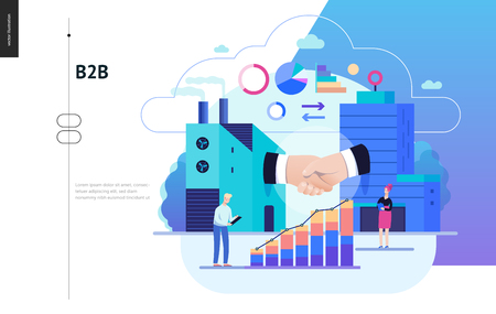 Business series, color 2 - b2b. business to business - modern flat vector illustration concept of b2b - a factory and a corporate buildings shaking their hands. Creative landing page design template
