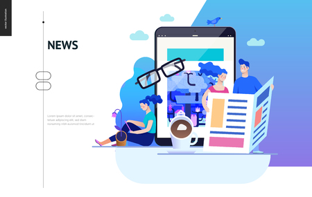 Business series, color 2 - news or articles- modern flat vector illustration concept of people reading news on various medium and tablet screen, glasses, coffee. Creative landing page design template