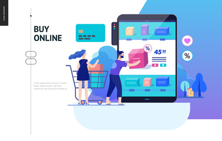 Business series, color 2 - buy online shop - modern flat vector illustration concept of man and woman shopping online Website interaction and purchasing process. Creative landing page design template Ilustração