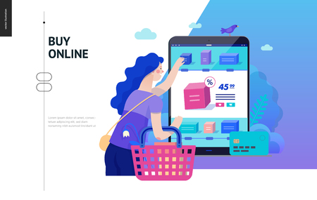 Business series, color 2 -buy online shop -modern flat vector illustration concept of woman shopping online holding basket. Website interaction -purchase process. Creative landing page design template