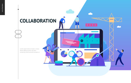 Business series, color 2-company, teamwork, collaboration -modern flat vector illustration concept of people making web page design Business workflow management. Creative landing page design template Ilustração