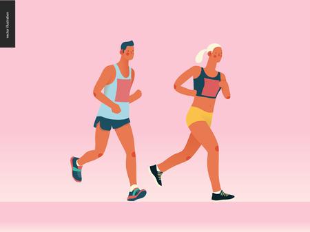 Marathon race group - flat modern vector concept illustration of running men and women wearing sportswer. Marathon race, 5k run, sprint. Creative landing page design template, web banner 向量圖像