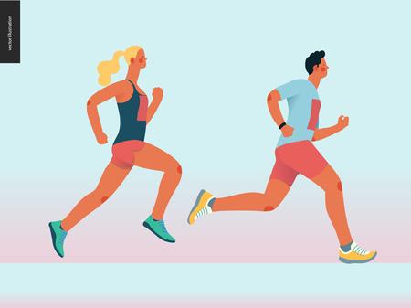 Maraton grupy wyścigowej - ilustracja koncepcja płaski nowoczesny wektor biegania mężczyzn i kobiet noszących sportswer. Maraton, bieg na 5 km, sprint. Kreatywny szablon projektu strony docelowej, baner internetowy