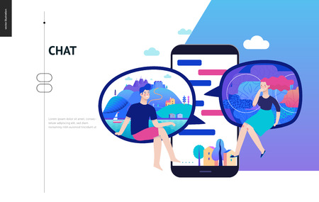 Business series, color 2- chat - modern flat vector illustration concept of people chating in messenger and the chat app on the phone screen. Creative landing page or company support design template Ilustração