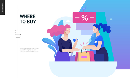 Business series, color 2 - where to buy - modern flat vector illustration concept of a customer and a shop assistant. Selling interaction and purchasing process. Creative landing page design template